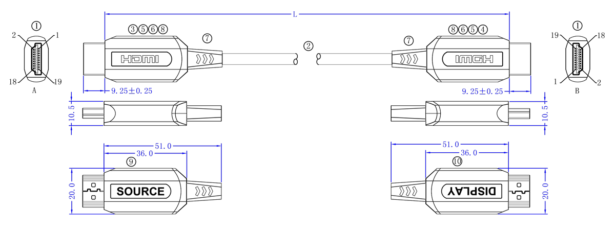 Cordon HDMI sur Fibre Optique CORHDMIFOM