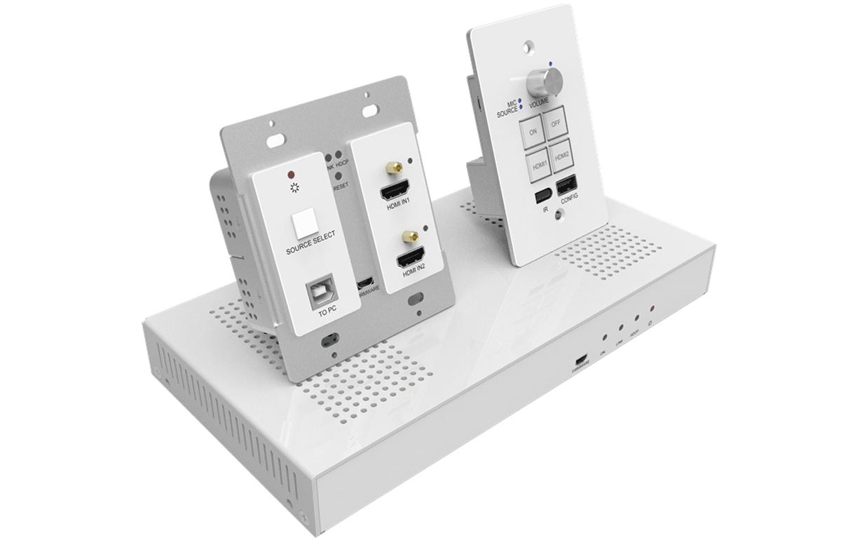 KIT.EDCPHH - Kit de salle, 1 plastron TX avec 2 entrées HDMI, 1 RX avec ampli & panneau de contrôle