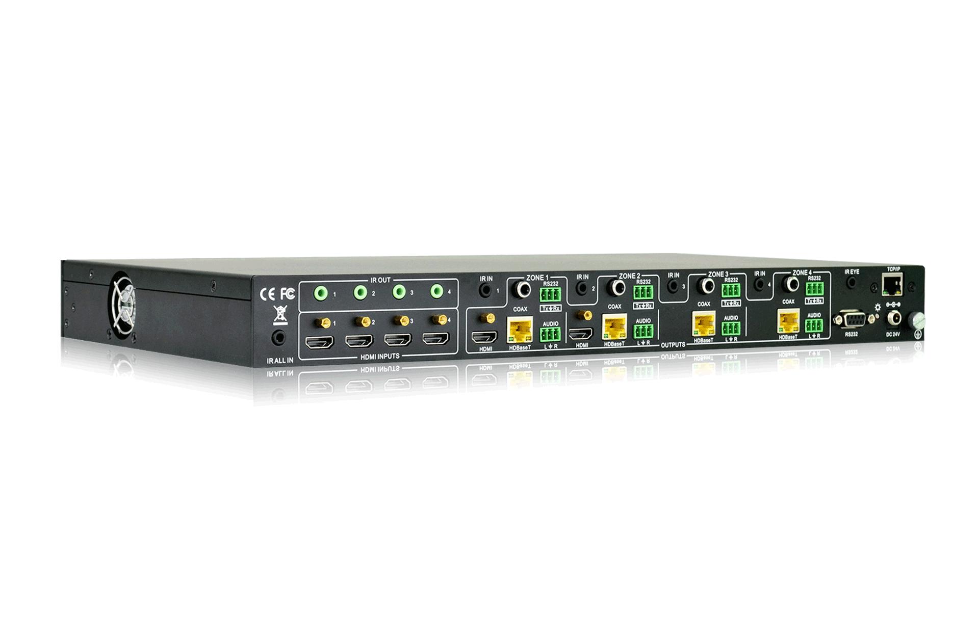 MAT.HDBT44-4K - Matrice 44 hybride HDBaseT sortie audio desembedé et insert Rs232
