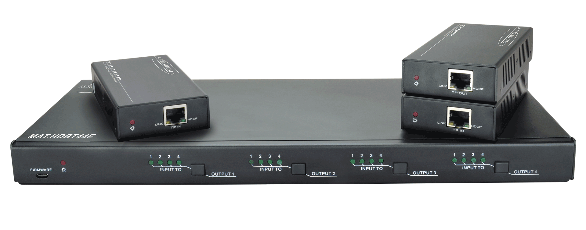 MAT.HDBT44E - Matrice 44 hybride HDBaseT 4 entrées HDMI avec 3 Récepteurs fournis