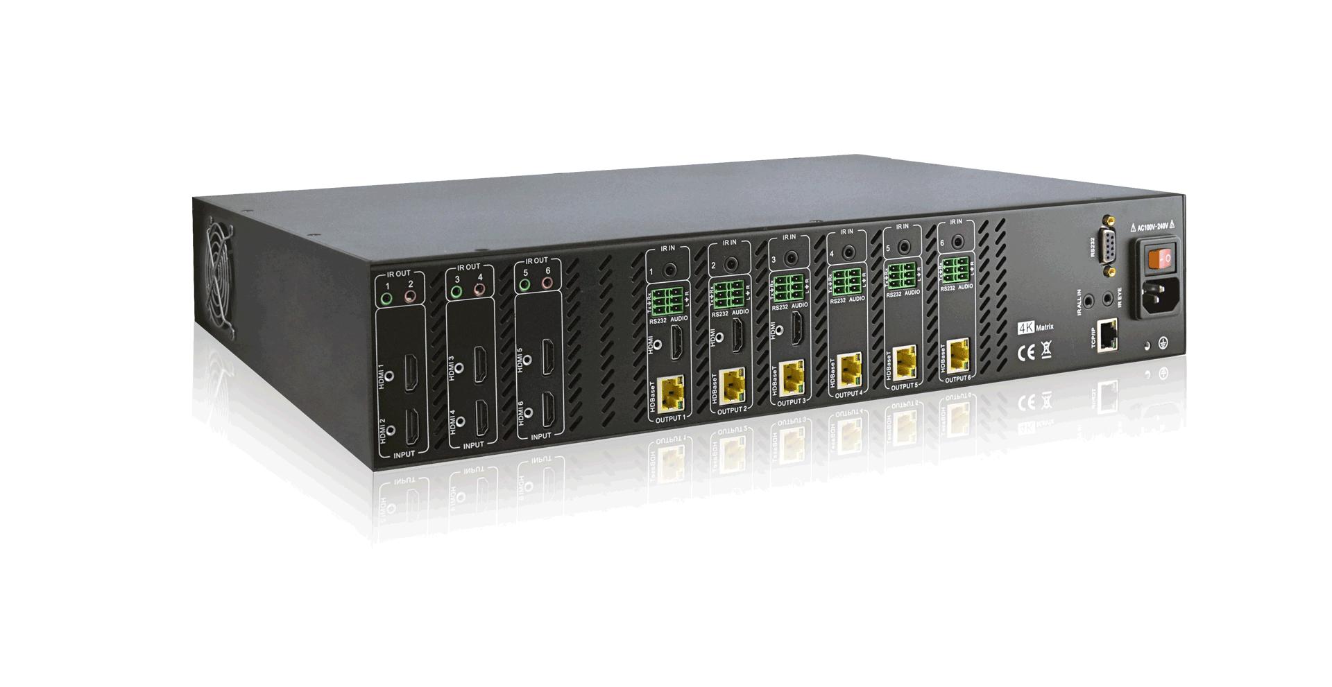 MAT.HDBT66-4K - Matrice 66 hybride HDMI HDBaseT sortie audio desembeddé et insert Rs232 4K 4:2:0 60Hz